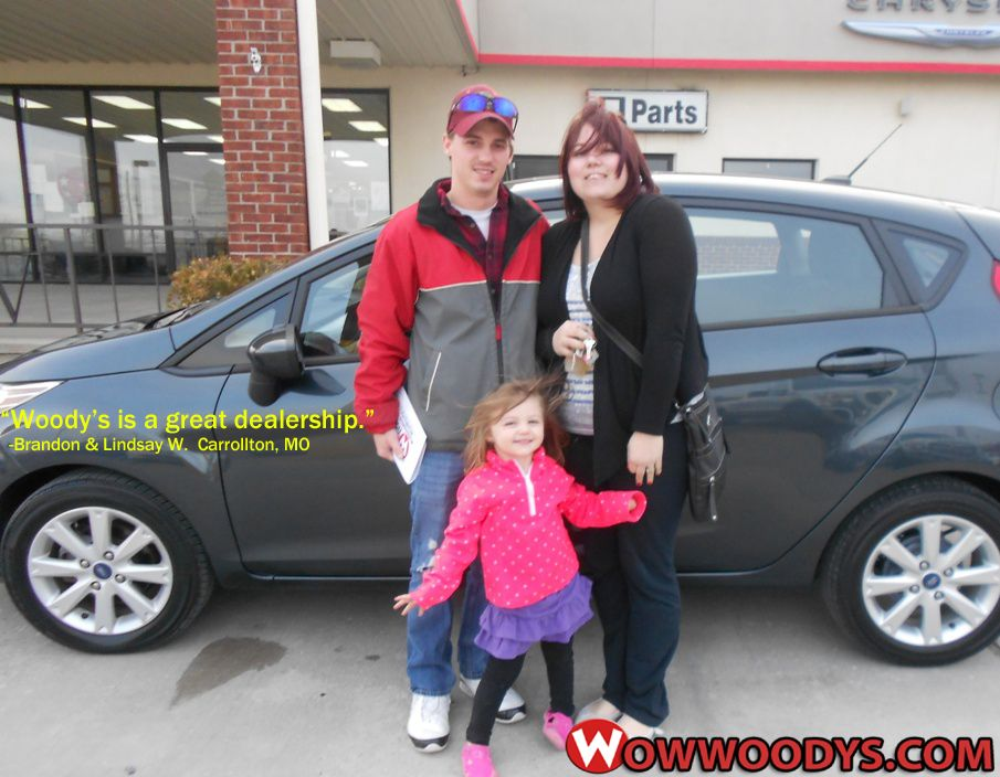 "Brandon and Lindsay Wieland from Carrollton, Missouri purchased this 2011 Ford Fiesta and wrote, ""Woody's is a great dealership to deal with. They were able to find just what we needed and at the right price. They also made us very comfortable while waiting and was extremely kind to our daughter. Will definitely be back."" To view similar vehicles and more, go to www.wowwoodys.com today!"
