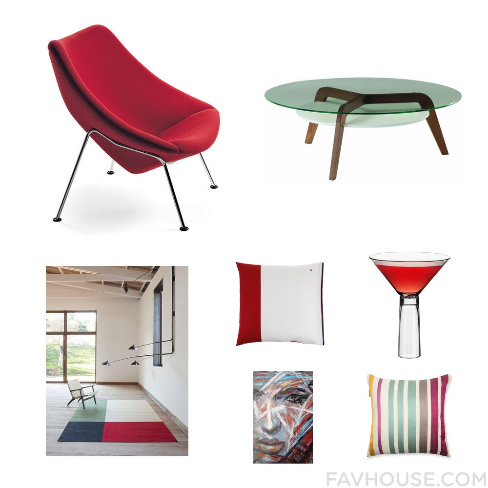 Decor set featuring artifort accent chair round table