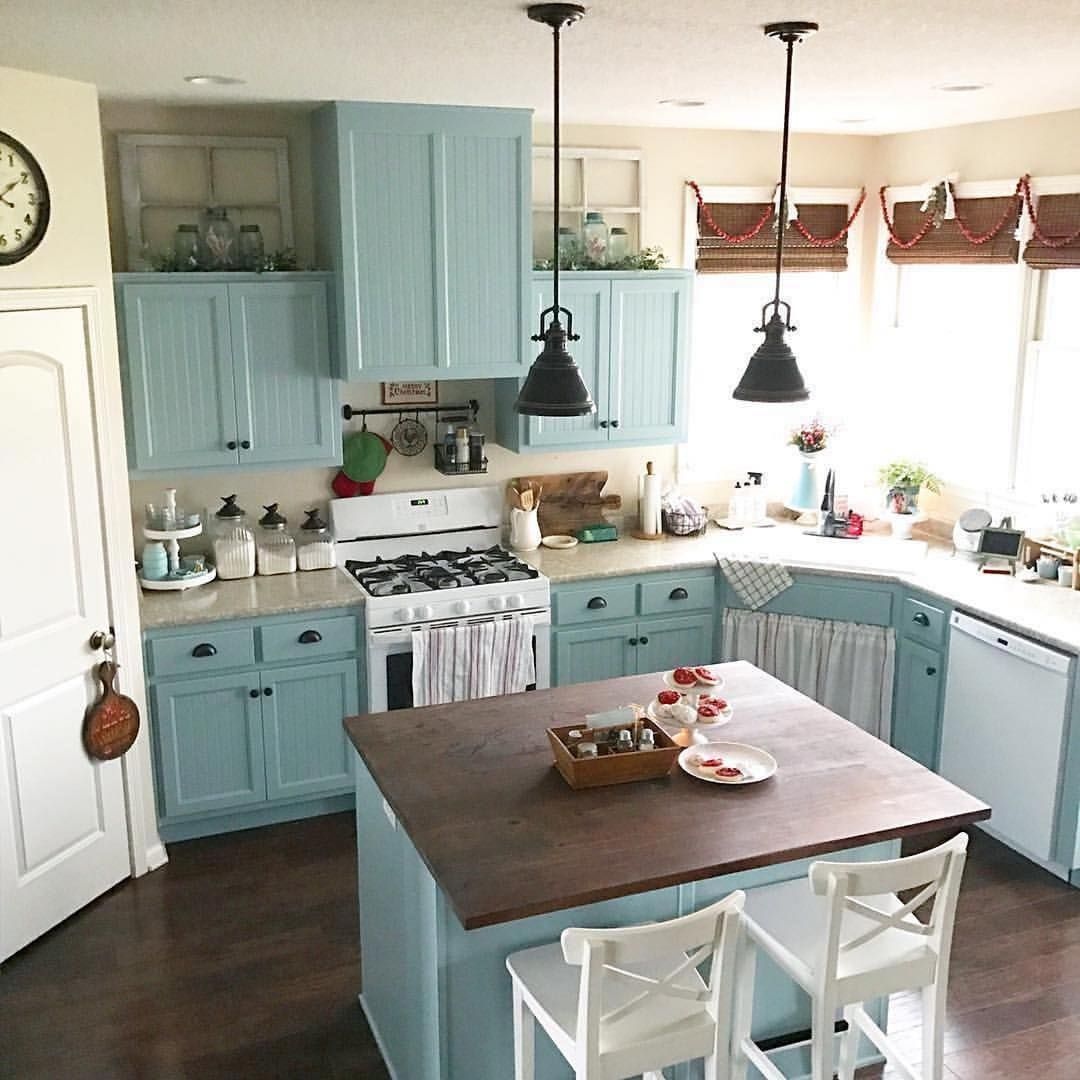 ️#teal kitchen!!! #Repost @acottagegirl Oh hey #Aqua Blue ...