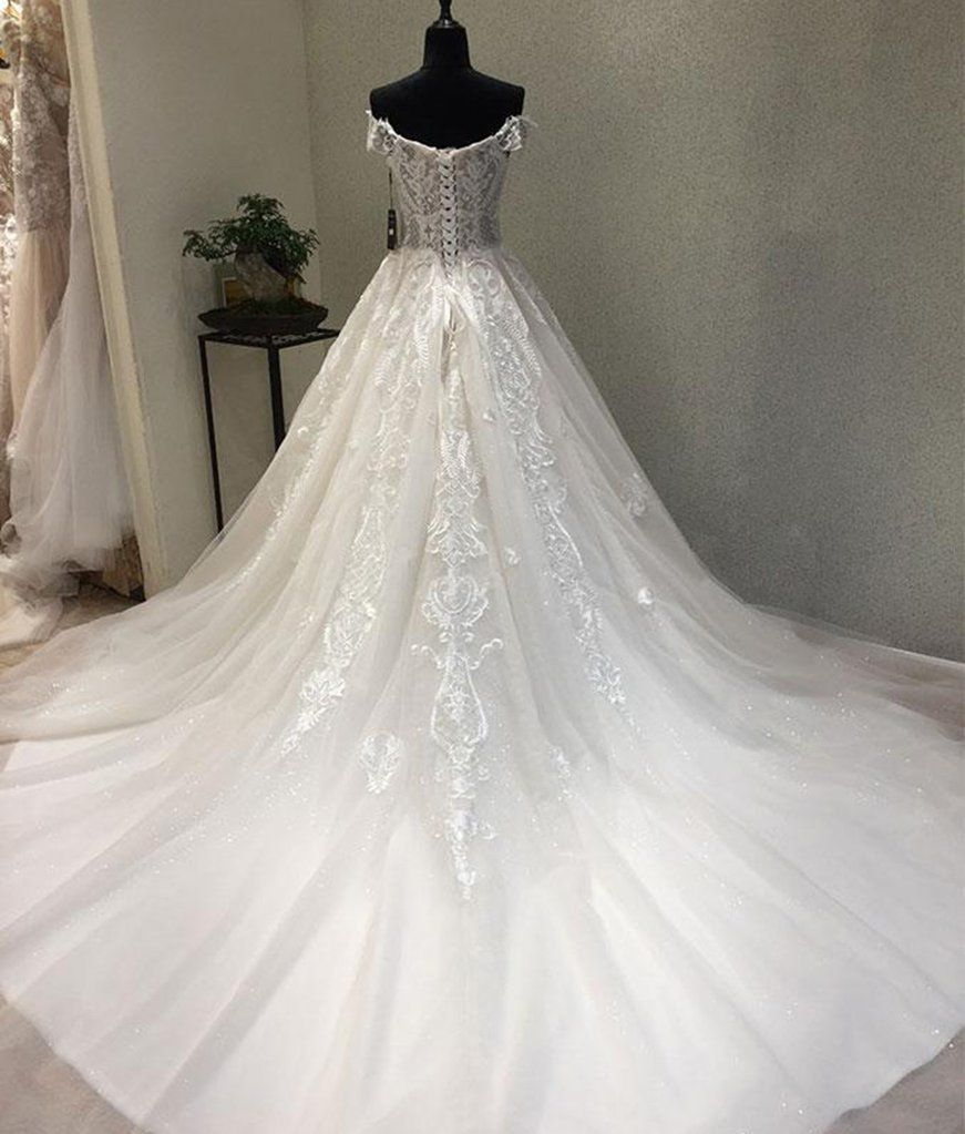 Lace wedding dress with train  New design white lace tulle sweetheart neckline off shoulder sweep