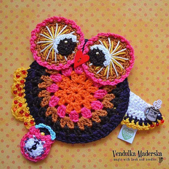 Crochet owl coaster pattern - DIY | Los buhos, Patrones y Adornos