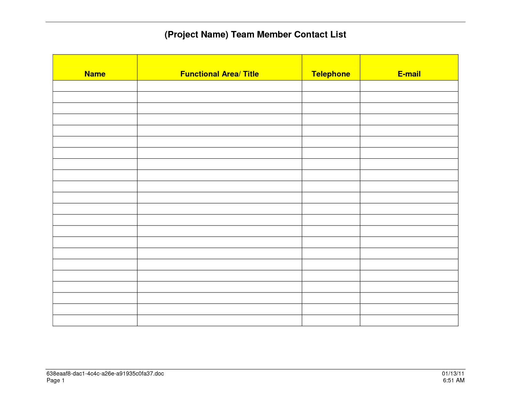 Sample Contact List Template  Rhodes Cottage  Muizenberg