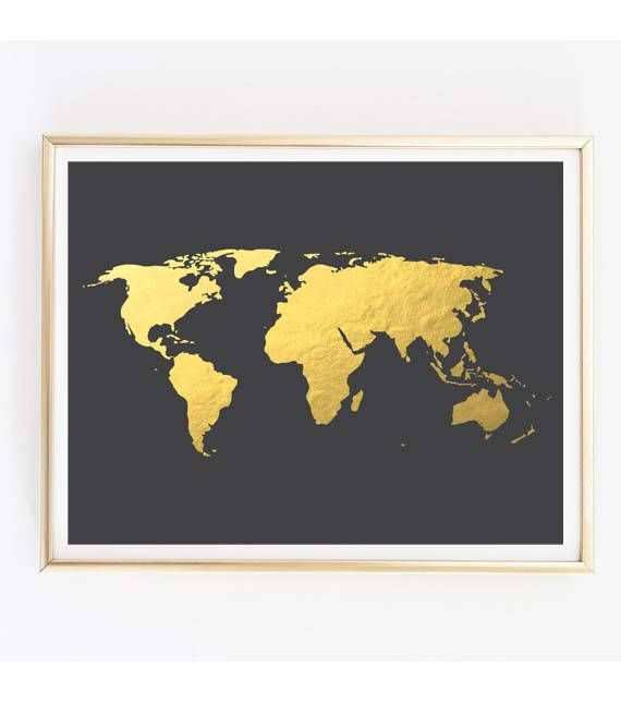 Gold world map gold foil world map world map wall art gold map gold world map gold foil world map world map wall art gold map gumiabroncs Image collections