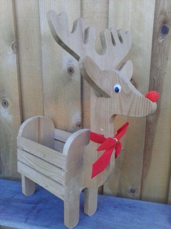 Deer Bowl Hand Carved Mango Wood Metal Antlers Reindeer Holiday Rustic Cabin