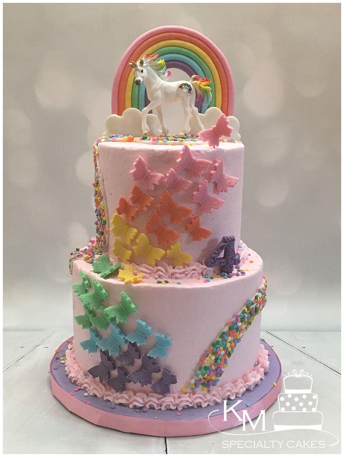 Rainbow Butterfly Sprinkle Unicorn Birthday Cake Butterfly