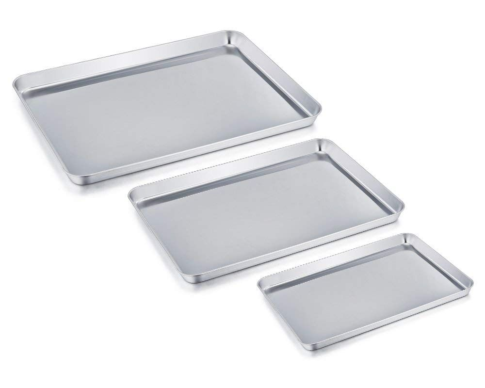 Teamfar Baking Sheet Set Of 3 Stainless Steel Cookie Sheet Baking Tray Pan Healthy And Non Toxic Stainless Steel Cookie Sheet Clean Dishwasher Easy Cleaning