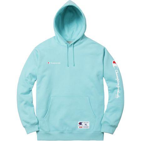 Supreme x Champion New York Box Logo Aqua Blue Pullover Hoodie Size L Bogo