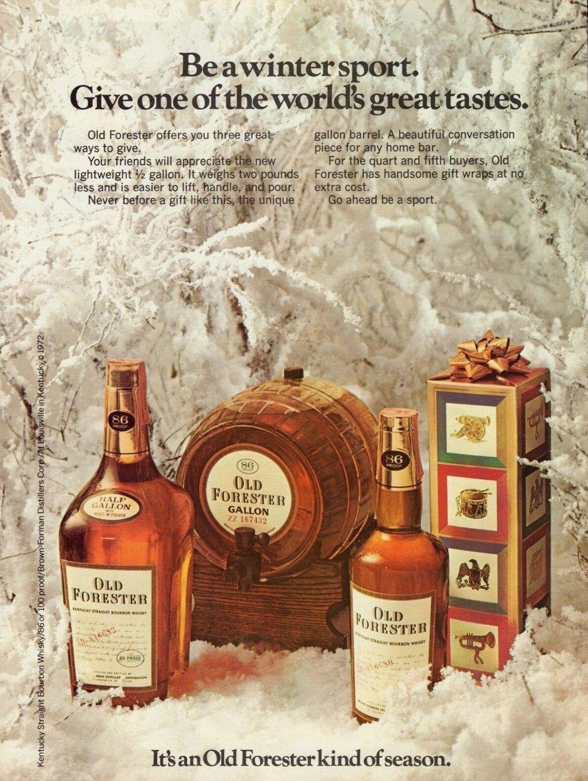 1972 Old Forester Bourbon Whisky Gallon Barrel Bottles Christmas Print Ad Ebay Print Ads Whisky Bottle