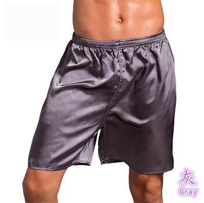 Men Stylish Silk Satin Sleep Bottoms Solid Lounge Pants Soft Pijama Short  Summer Sleeping Shorts fa45be3d2