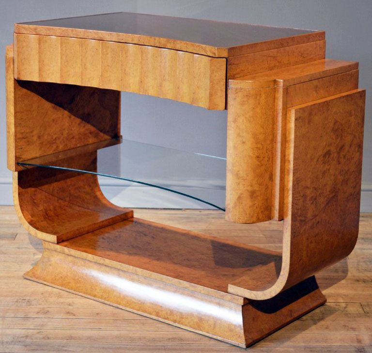 art d co console noyer miel harry et lou epstein ann es 30 art d co mobilier. Black Bedroom Furniture Sets. Home Design Ideas