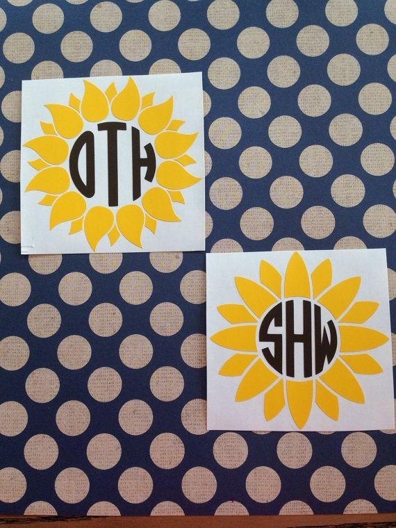 Sunflower Monogram Decal Sunflower Car Decal By
