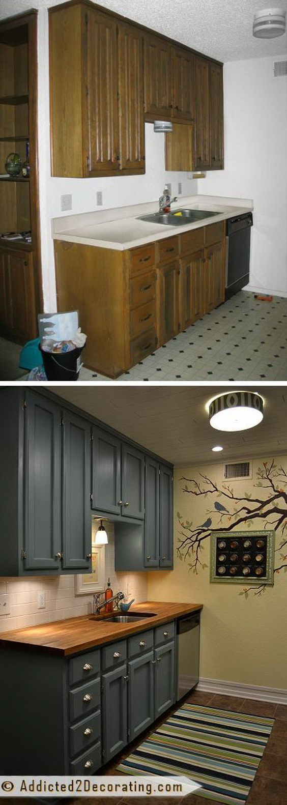 Before and after teeny tiny kitchen cheap makeover what an amazing
