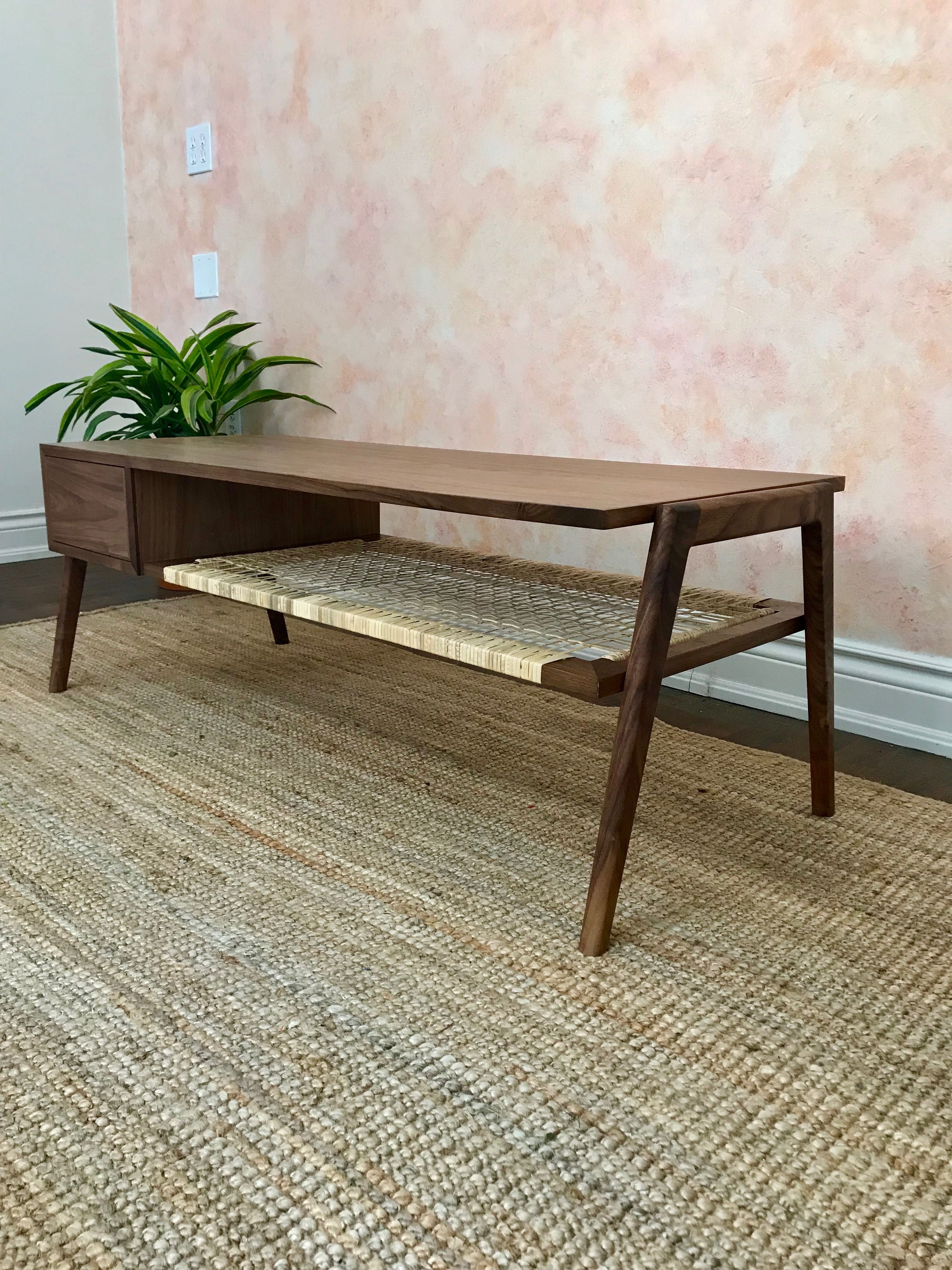 Walnut And Cane Coffee Table I Recently Completed Click To See The Diy For This And Projects Like It Coffee Table Woodworking Plans Wood Projects Woodworking
