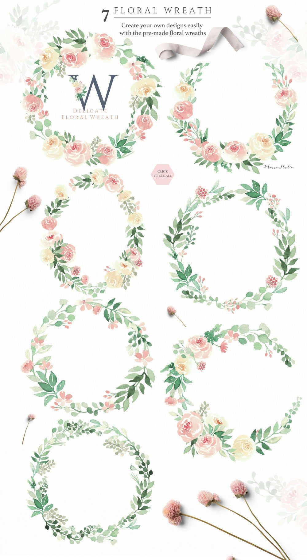 Aquarell Blumenkranz Blush Florals Grun Blumenkranze Fruhling