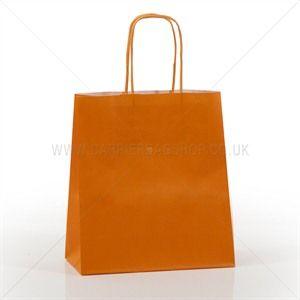 Premium Papiertragetaschen mit Kordelgriffen orange