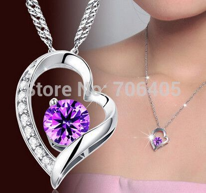silver heart pendant guaranteed real 925 sterling silver pendants with purple cubic zirconia 5pcs/ lot