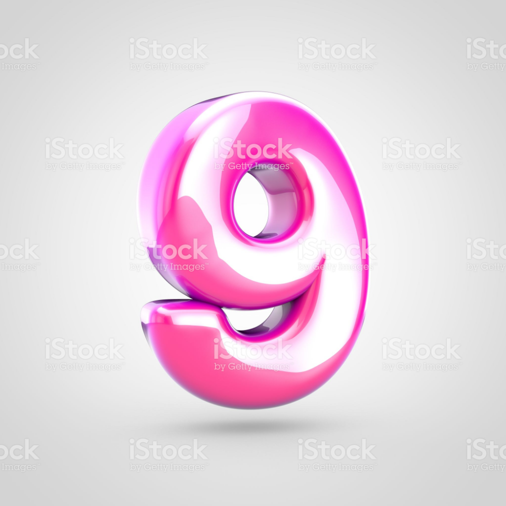 Pink Number 9 Isolated On White Background Royalty Free Stock Photo Alphabet Photos Stock Images Free White Background Photo