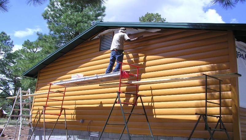 Log look vinyl siding log cabin steel siding vinyl for Faux wood vinyl siding