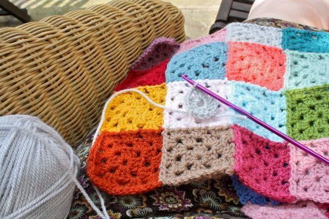 Giant Granny Square Blanket Free Pattern Square Blanket Granny