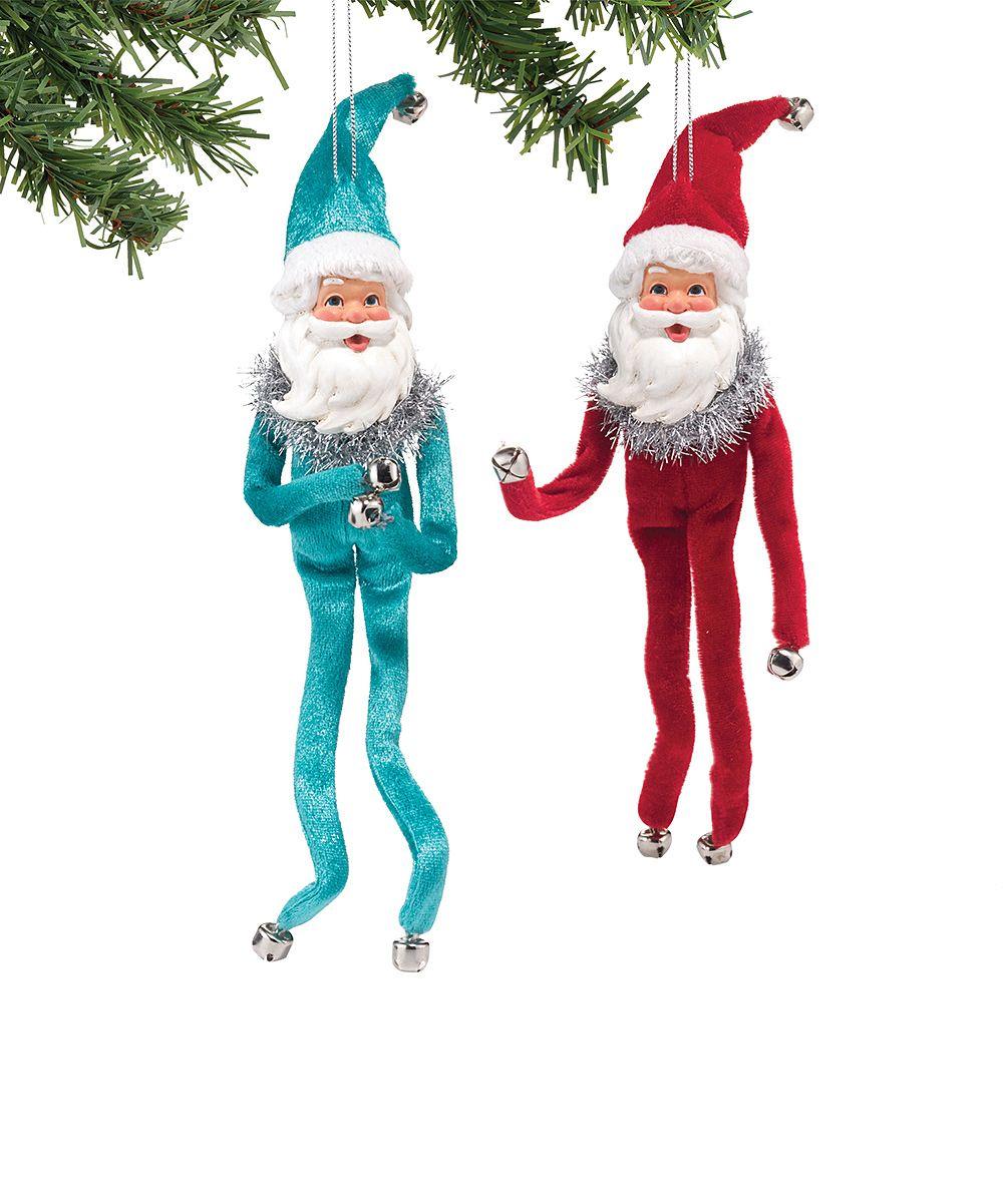 1956 Christmas Blue & Red Santa Ornament Set$10.99
