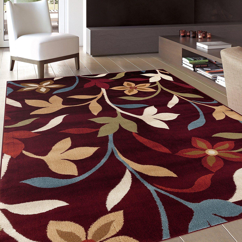 Amazon Com Rugshop Modern Contemporary Leaves Design Area Rug 5