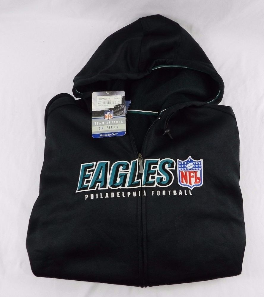 new style 69785 31f9b Vintage Black Philadelphia Eagles NFL Zipper Hoodie Size XXL ...