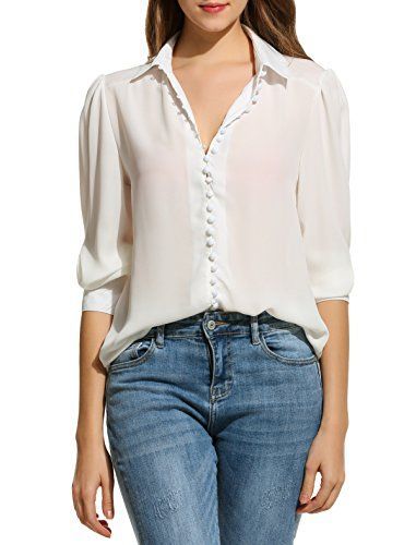 813515f0f Zeagoo Women Long Sleeve Button Down Chiffon Blouse Shirt Solid  TopWhiteXLarge *** Find out more about the great product at the image link.