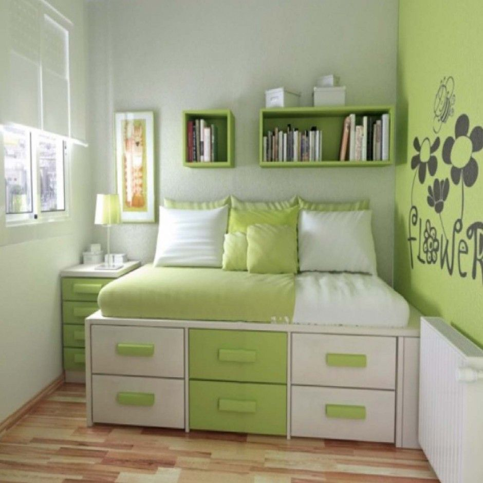Bedroom Cute Green Apartment Bedroom Design Feats Two