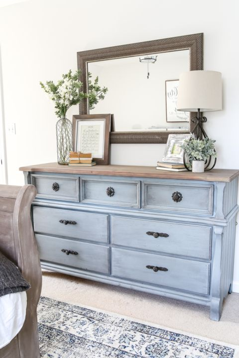 blue cottage style guest bedroom makeover reveal | cottage style