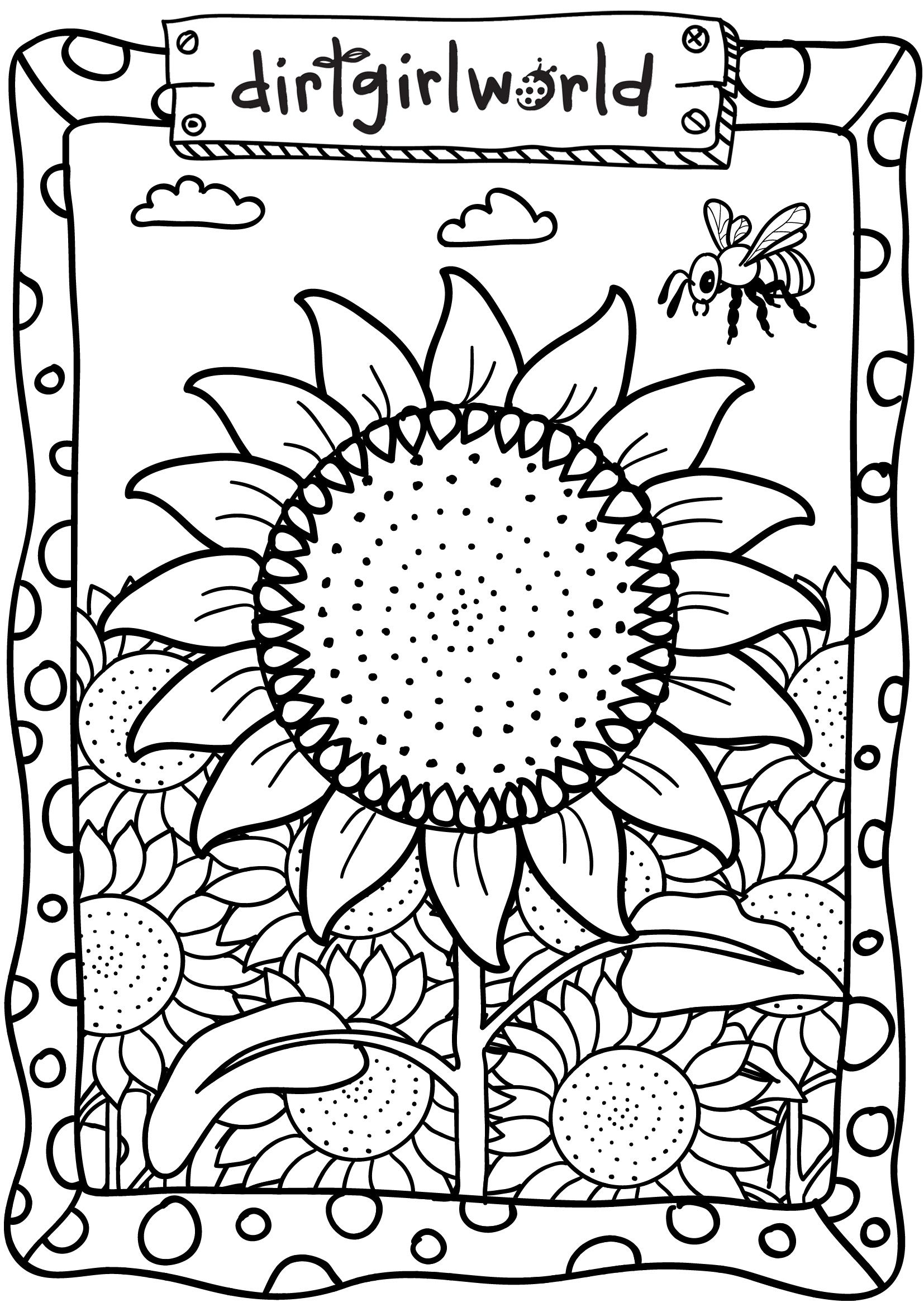 Dirt Girl World Sunflower Colouring Page Special day