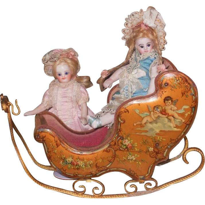 Rare To Find And Very Beautiful Late 19th Century French Miniature Sleigh With Luxury Hand Painted Cupid Romantic Scenes All A Sleigh Miniatures Antique Dolls