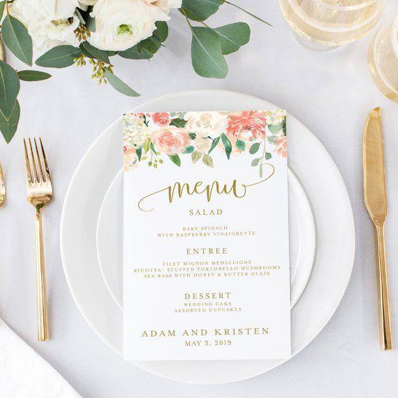 Pink Spring Floral Wedding Reception Menu Cards - 5x7 or 4 by 9.25 Pink Spring Floral Wedding Reception  Menu Cards - 5x7 or 4 by 9.25   Printed or...
