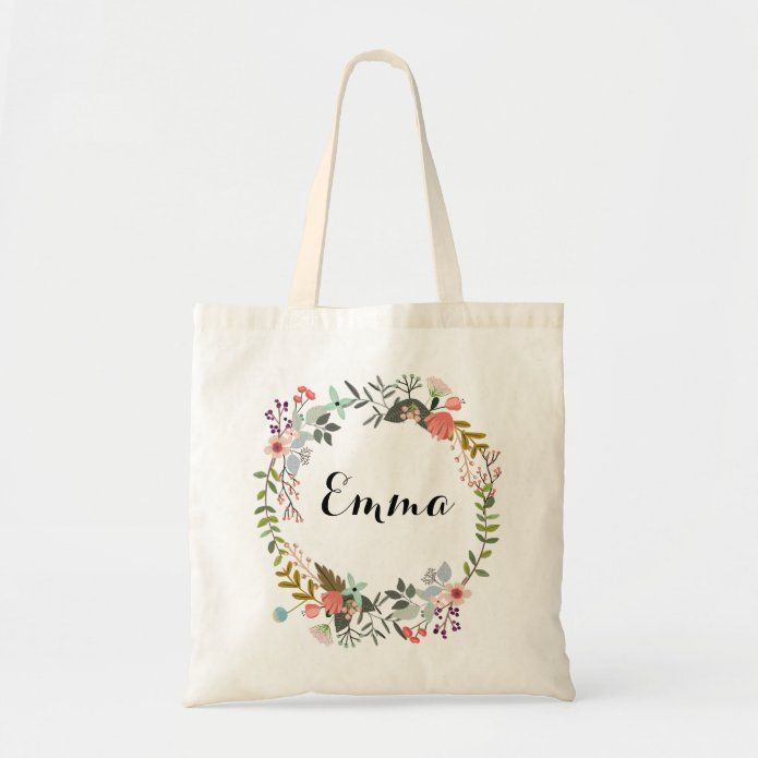Personalized Floral Tote Bag | Zazzle.com