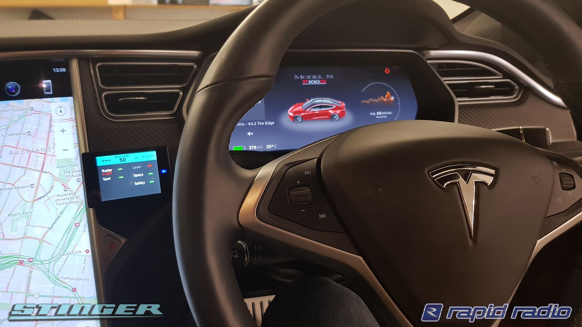 The Stinger VIP radar detector installed in a Tesla at Rapid