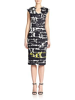 Black Halo Jazelle Abstract-Print Sheath