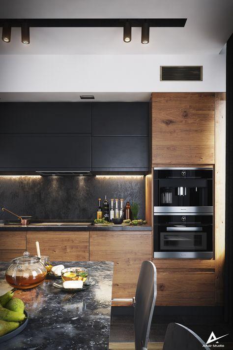Modern Dark Kitchen 3dddru