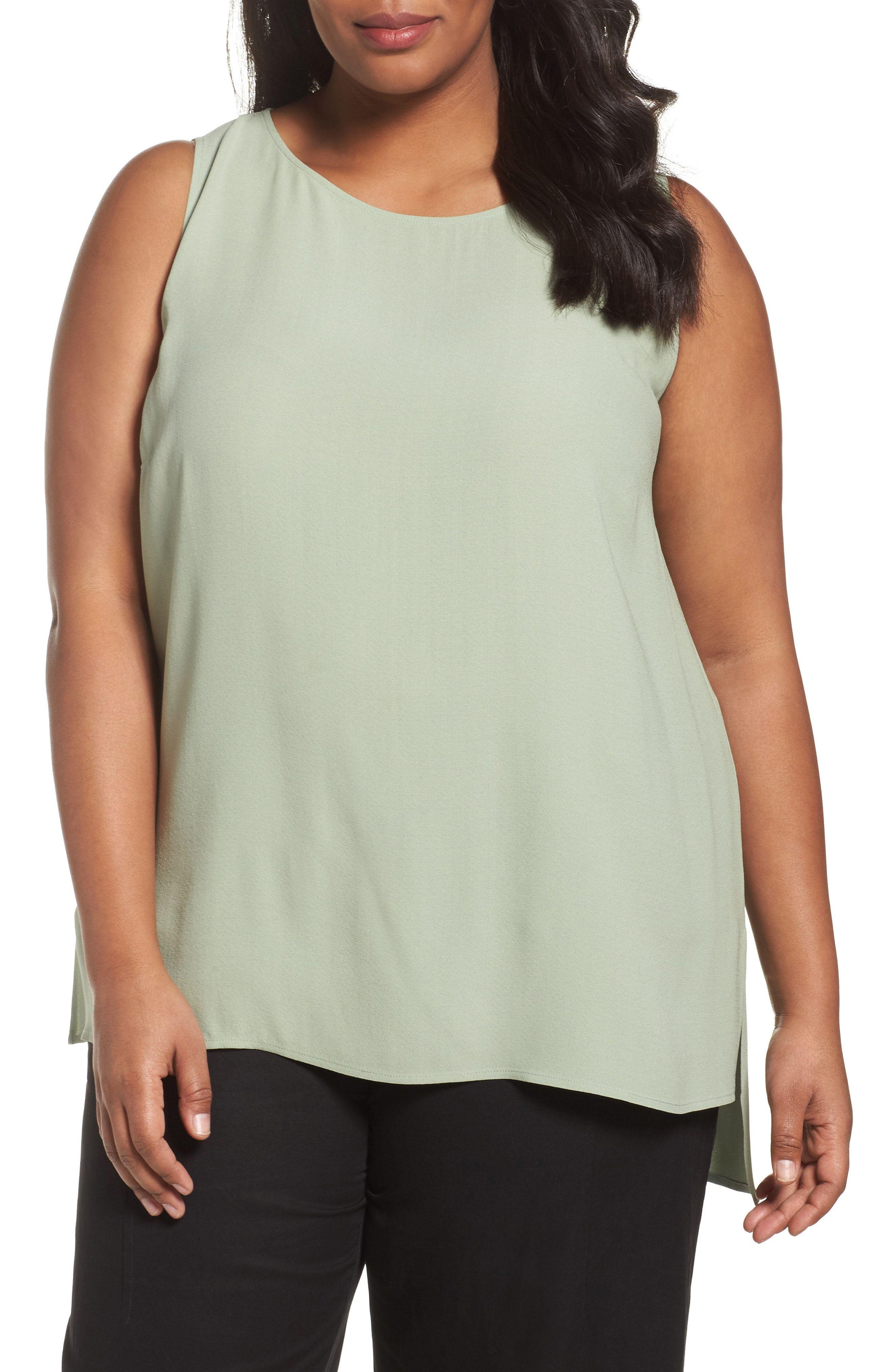 ae2da2c33be New Eileen Fisher Silk Georgette Crepe Tank (Plus Size) KEY LIME fashion  online.