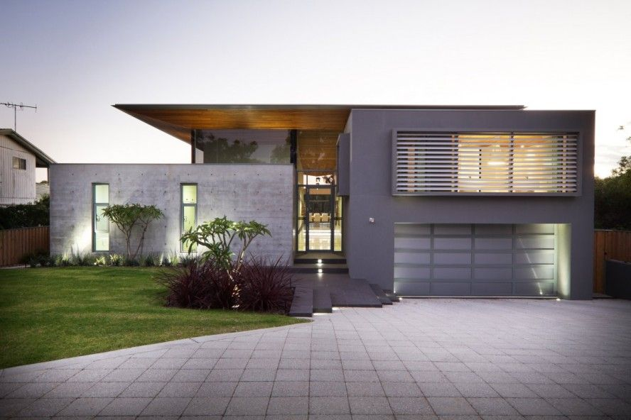 Charming Contemporary Minimalist House Design Australia Featuring Exterior Wall Hidden Lamp Glass A Tall Cable Balcony