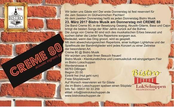 """#De #Keller  #Mal #ein #Tipp #von #mir ; )Bistro #Musik #am #Donnerstag #den 23. #Maerz #mit  CREME 80   ... #Mal #ein #Tipp #von #mir ;-)Bistro #Musik #am #Donnerstag #den 23. #Maerz #mit """"CREME 80""""  Gentleman Rocker #Uwe #Jolly #laedt  #am #Dienstag #den 28. #Maerz #mit """"THE RETRONAUT"""" #wieder #zu #einem #Rock #Abend #der #Extraklasse #ein. #Beginn #wie #immer 20:00 #Uhr - #Eintritt #frei - Hut #geht #rum #Fuer Gaeste #die http://saar.city/?p=67551"""