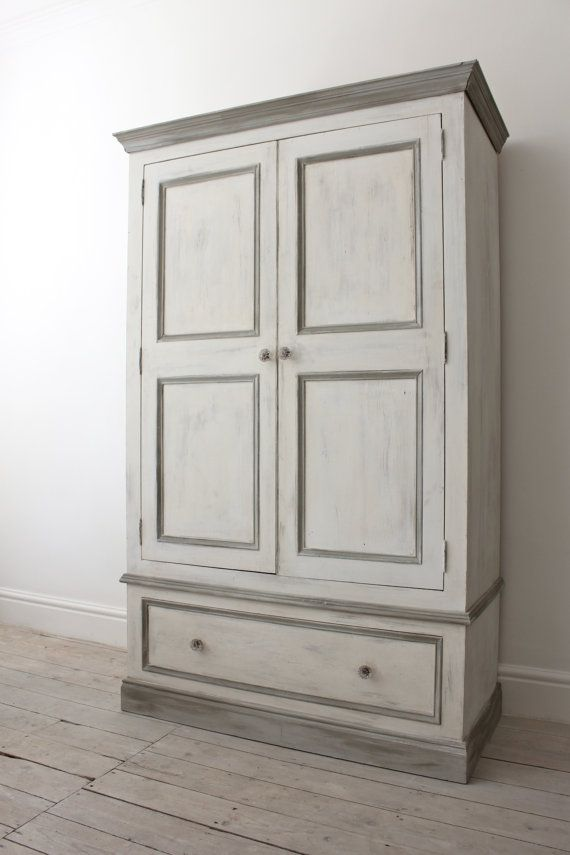 double pine wardrobe painted in a shabby chic style with annie sloane old white paris