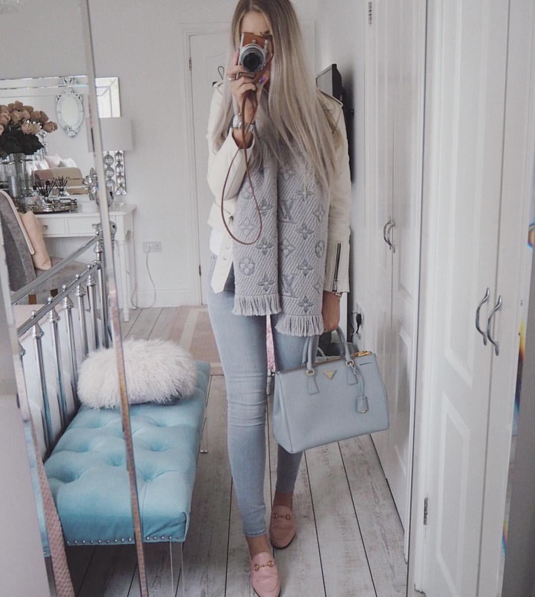 Instagram  emilyjanehardy - Louis Vuitton grey scarf 70f04f662916f