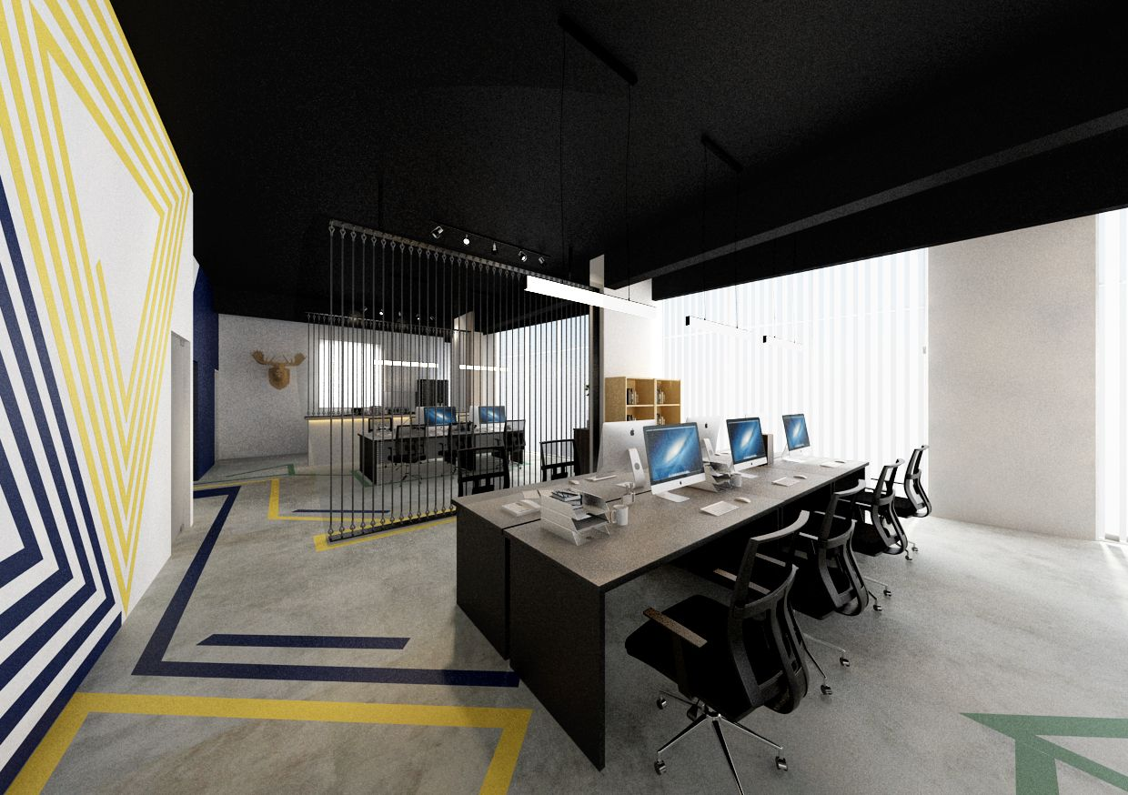 office chair penang small chairs for spaces workstation design open space interior by grov studio commercial furniture renovation construction