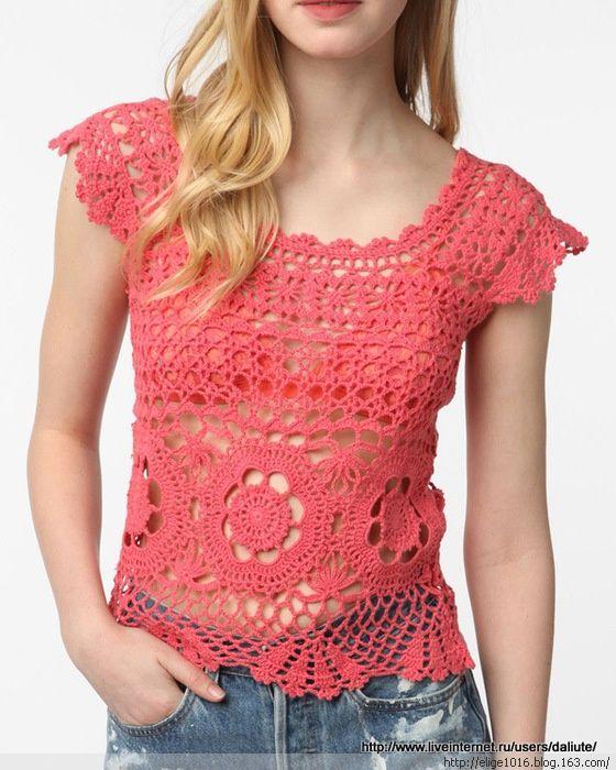 crochelinhasagulhas: Blusa coral em crochê | blusas de croche ...