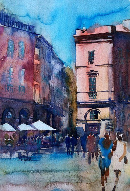 Le Grand Balcon Place Du Capitol Toulouse Peinture 40x50 Cm