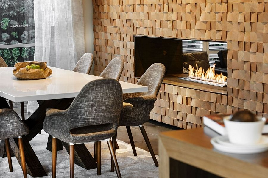 Fireplace Design fireplace in dining room : Inimitable Perth Residence Charms With A Refined Rustic Style ...