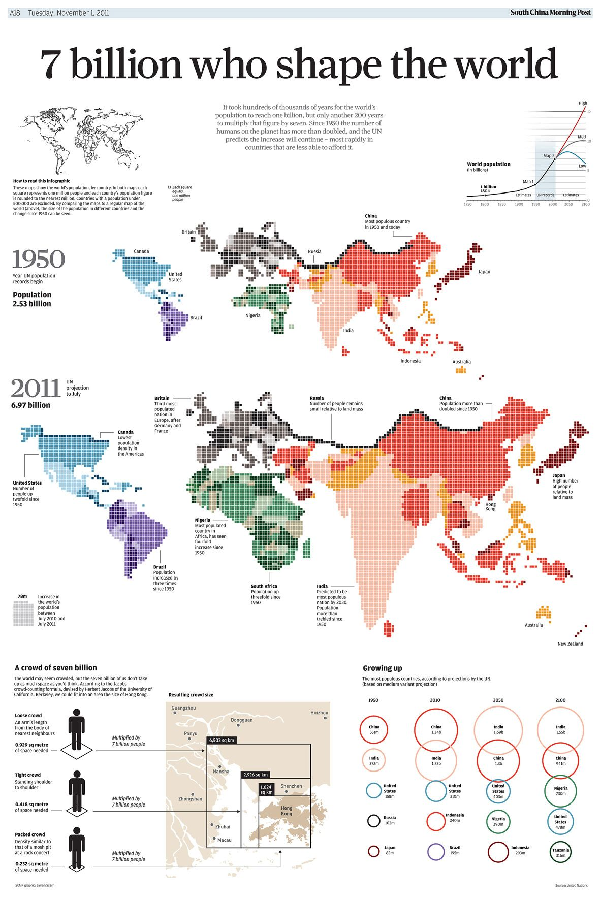 world map of human population growth between 1950 and 2011