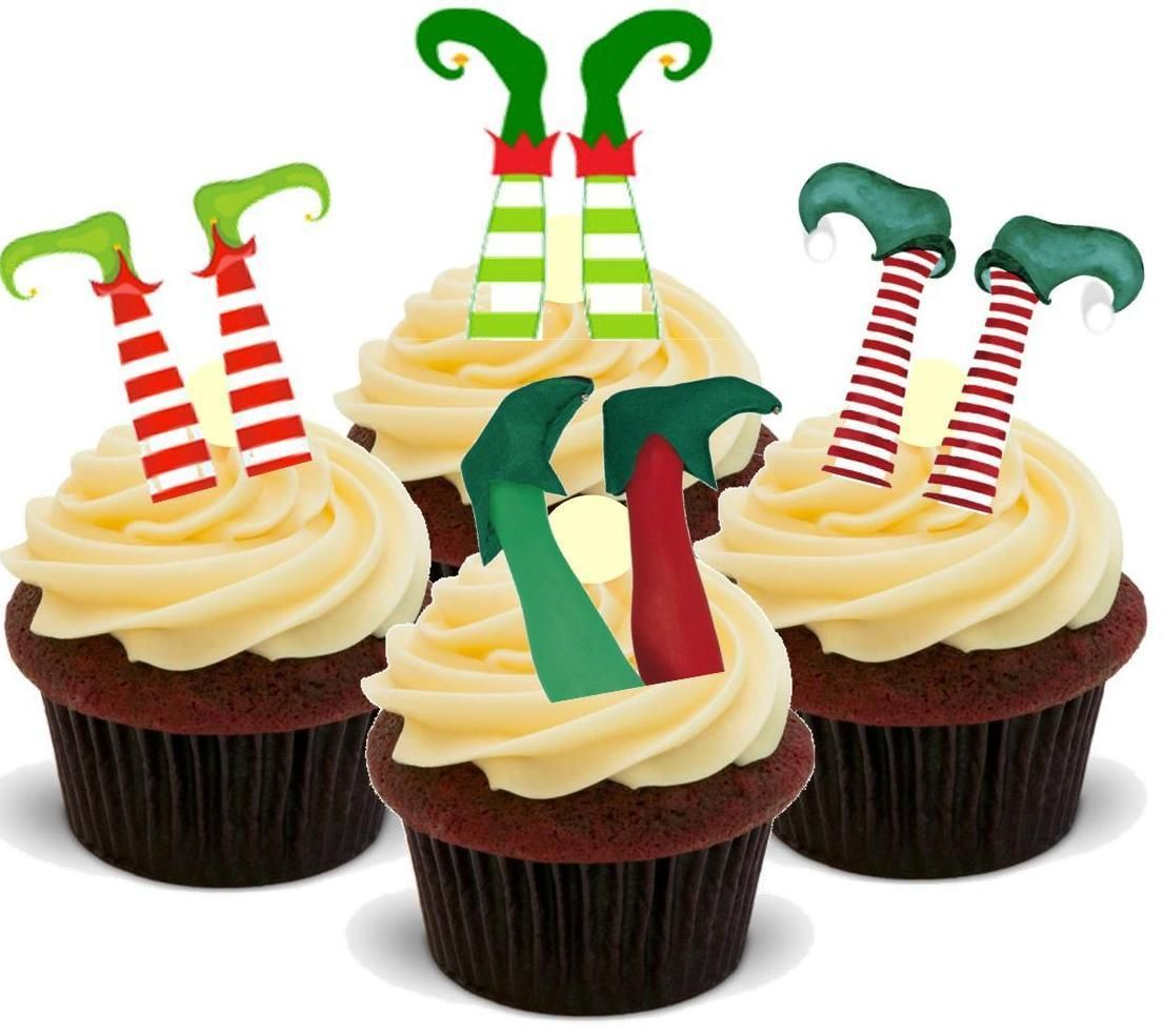 NOVELTY Funny Xmas Elfs Feet Mix 12-48 VANILLA Cake Toppers Pack Edible Icing