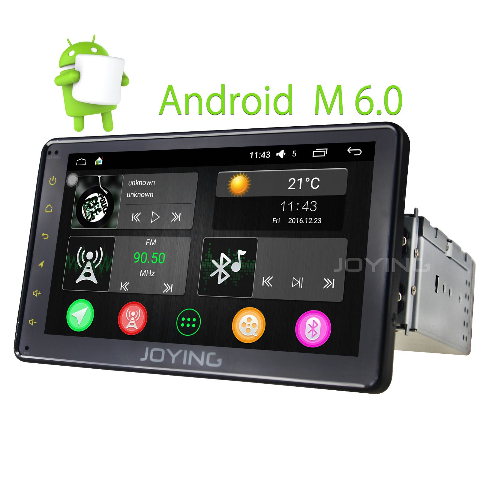 Joying best automotive single din 7 inch touchscreen pip car radio new android marshmallow os bluetooth audio gps navigation multimedia system support auto