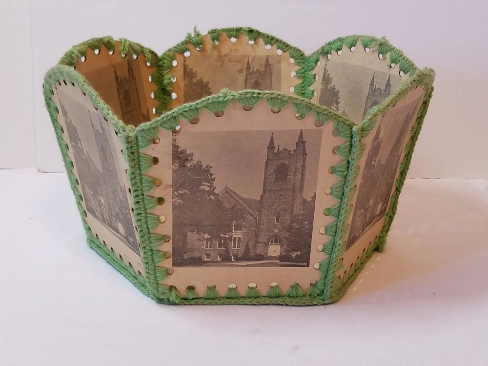 Vintage Antique Folk Art Paper Basket Bowl Dish Hand Made Church - church program