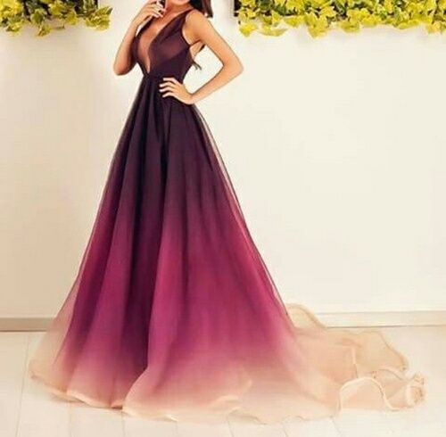 Ombre colors dress prom
